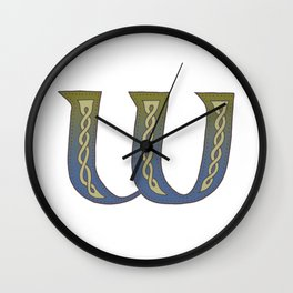 Celtic Knotwork Alphabet - Letter W Wall Clock