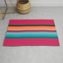 Traditional Mexican Serape in Teal Rug