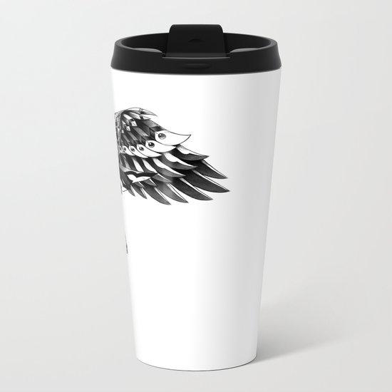 Ornate Falcon Metal Travel Mug
