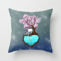 the last unicorn Throw Pillows featuring Last Unicorn by Astrablink7
