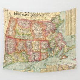 Vintage Map of New England States (1900) Wall Tapestry