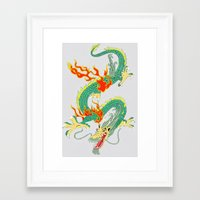 chinese Framed Art Prints featuring Chinese Dragon by J&C Creations