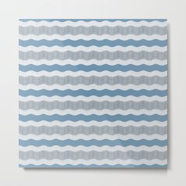 Wavy River in Blue and Gray 1 Metal Print