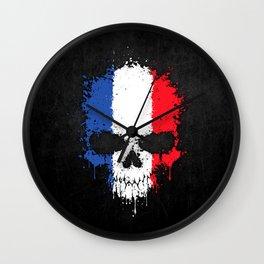 Flag of France on a Chaotic Splatter Skull Wall Clock