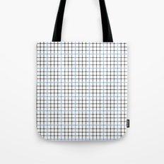 Dotted Grid Weave Blue Black Tote Bag