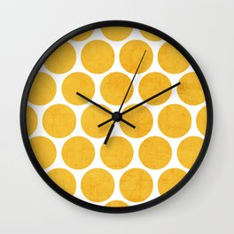 yellow polka dots Wall Clock