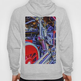 Blue And Red Grunge Mechanical Drives Of A Vintage Steam Engine Locomotive Hoody