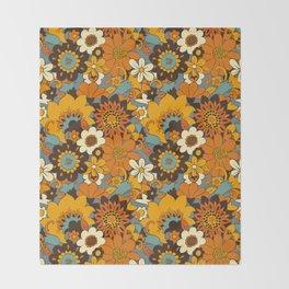 70s Retro Flower Power 60s floral Pattern Orange yellow Blue Throw Blanket