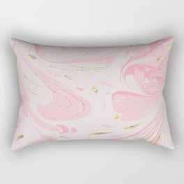 Elegant blush pink gold yellow abstract watercolor marble Rectangular Pillow