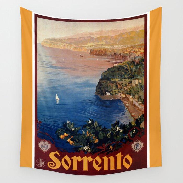 Italy Sorrento Bay of Naples vintage Italian travel Wall Tapestry