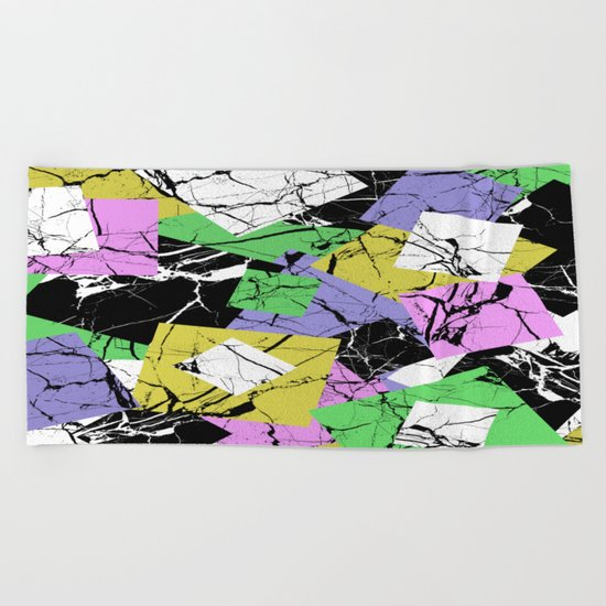 Pastel Marble Tiles Abstract Pattern Beach Towel