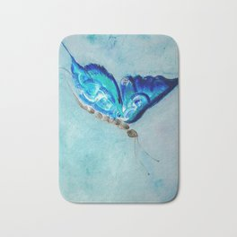 Flying blue butterfly Bath Mat
