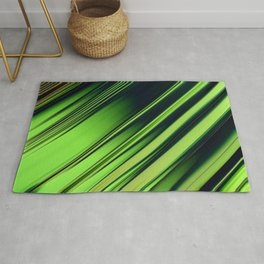 Diagonal Stripes of Green and Black Rug