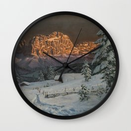 Winter Sunset After Snowfall in the Italian Alps landscape painting Wall Clock
