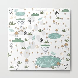 Seamless Pattern with puddles and mushrooms Metal Print