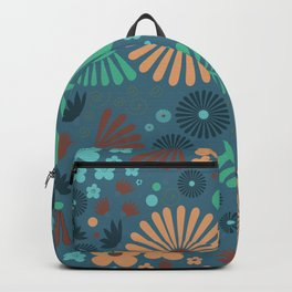 Whimsical flowers - blue and pink Backpack