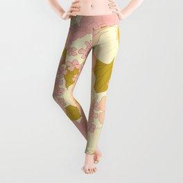 Pink Pastel Vintage Floral Pattern Leggings