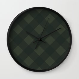 buffalo plaid green Wall Clock