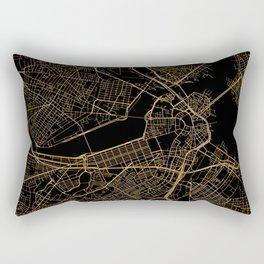 Black and gold Boston map Rectangular Pillow