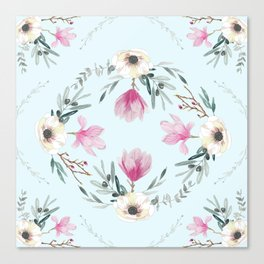 Floral Square Acqua Canvas Print