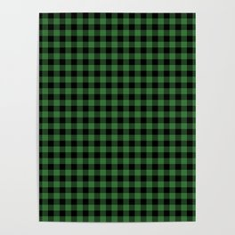 Classic Green Country Cottage Summer Buffalo Plaid Poster
