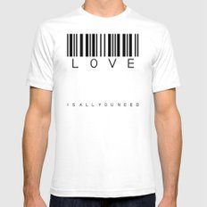 LOVE is all you need White SMALL Mens Fitted Tee