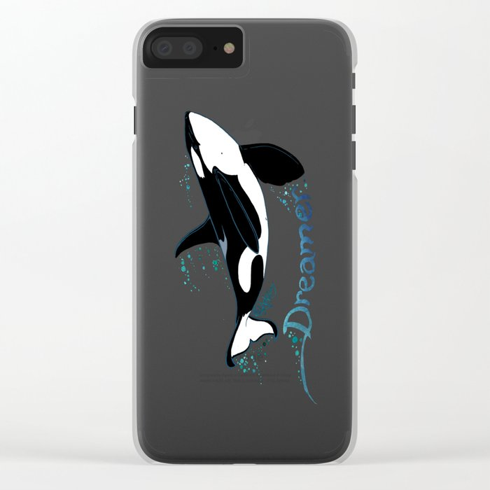Dreamer Orca (Amber Marine, Indie Wildlife Artist Official Logo, Copyright 2015) Killer Whale Art Clear iPhone Case