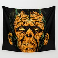 frankenstein Wall Tapestries featuring frankenstein  by of the dead designs