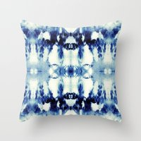 tie dye Throw Pillows featuring Tie Dye Blues by Nina May Designs