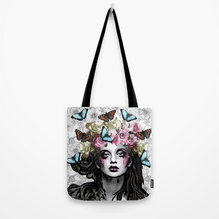 Rose, portrait of a woman with roses Tote Bag