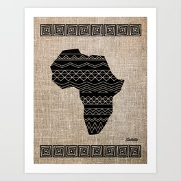 Map of Africa in Black on Beige, Ethnic Heritage, Cultural by Saletta Home Decor Art Print