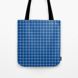 Yale Blue - blue color - White Lines Grid Pattern Tote Bag
