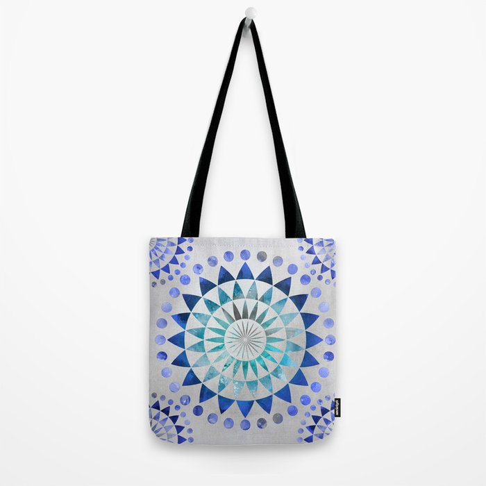 Mandala Pattern blue and turquoise Tote Bag