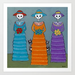 Catrinas and Their Cats Art Print