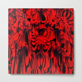Colorful smudges of magical infinity from red lines and dark hypnotic fixation. Metal Print