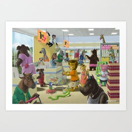 animals doing their shopping at a supermarket Art Print