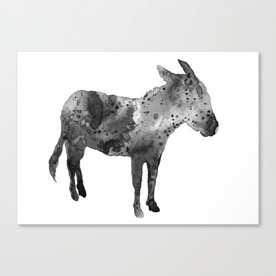Donkey, black and white Canvas Print