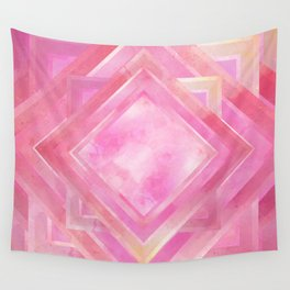 Mosaic Tile // Pink Watercolour Wall Tapestry