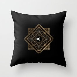 Swan Vintage Art Deco Gold Ornament Throw Pillow