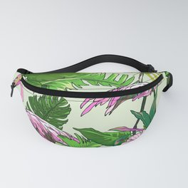 Pink Flamingoes and Tropical Flowers Print Fanny Pack