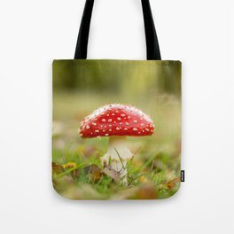 White dotted red hood Tote Bag