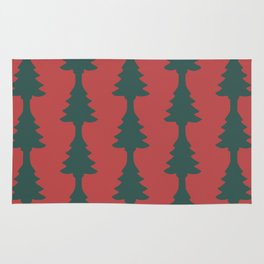 Red & Green Pine Tree Cut Out Rug