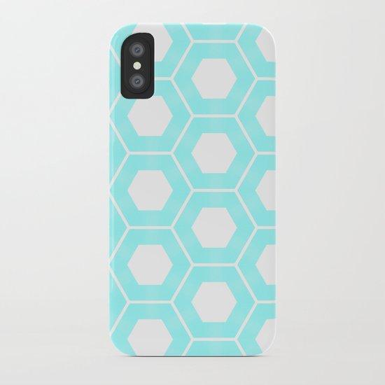 Nieuwland Powder Blue Hexagons Pattern iPhone Case