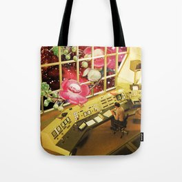 Observing what's out there, a space sci fi collage Tote Bag