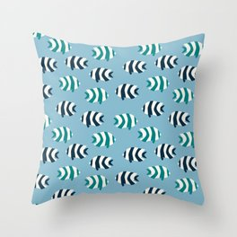 Abstract tropical fish repeating pattern Throw Pillow