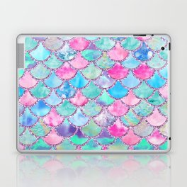 Colorful Pink and Blue Watercolor Trendy Glitter Mermaid Scales Laptop & iPad Skin