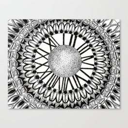 Time and Space Zoomed in Black, Grey, and White Mandala Canvas Print
