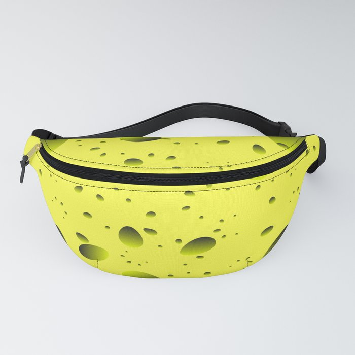 Large yellow drops and petals on a light background in nacre. Fanny Pack