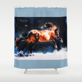 Alive - Exuberant and Powerful Stallion Shower Curtain