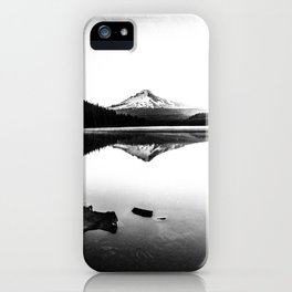 Fantastic Morning - Mount Hood Reflection Black and White iPhone Case